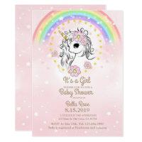 Pink Unicorn RainBow Girl Baby Shower Cards