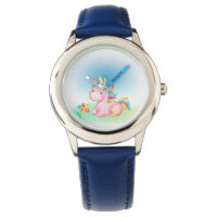 Pink Unicorn With a Yelow Blue Pink Flower Wristwatch