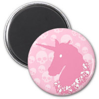 Pink Unicorn with Skulls Magnet