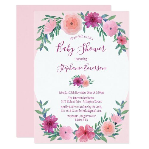 Pink Watercolor Flowers Baby Shower Invitations