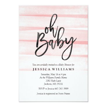 Pink Watercolor Gradient Oh Baby Shower Invitation