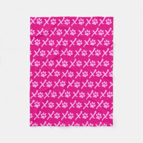 Pink XOXO Paw Print Blanket Great for Dogs