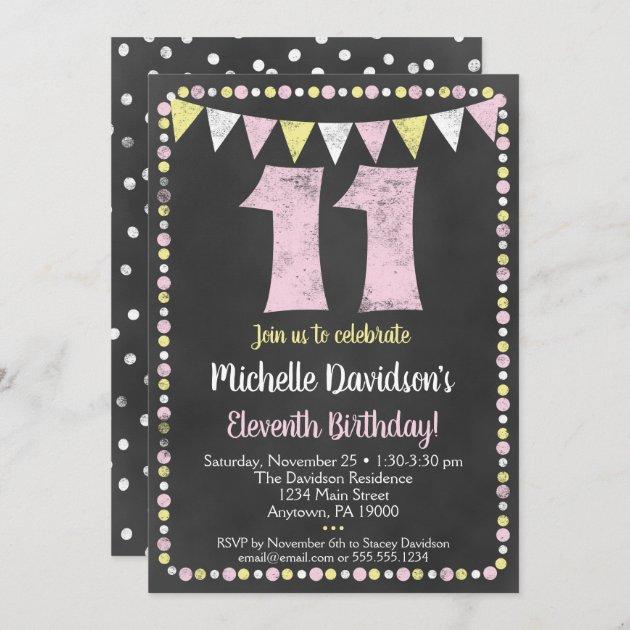 pink yellow chalkboard 11th birthday invitation zazzle com