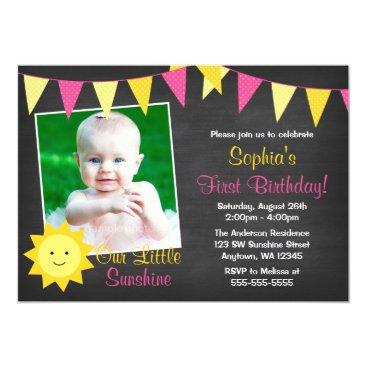Pink Yellow Sunshine Chalkboard Photo Birthday Card