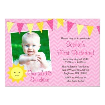 Pink Yellow Sunshine Photo Birthday Invitation