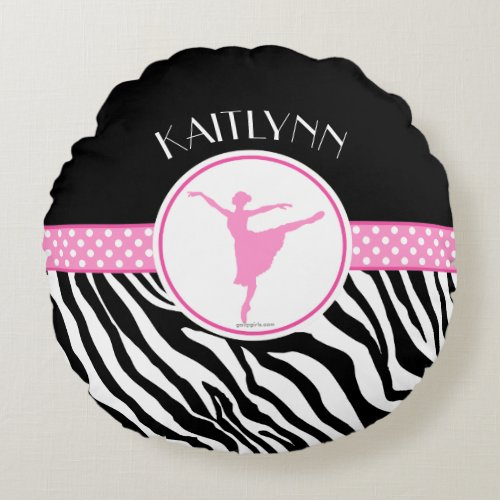 Pink Your Name Zebra Print Ballet Dancer Round Pillow