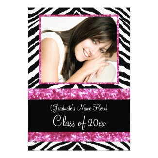 Pink Zebra Sparkle Girls Graduation Party Personalized Invitation