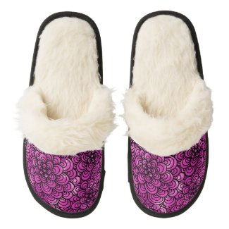 Pink Zentangle Fuzzy Slippers Pair Of Fuzzy Slippers