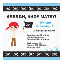 Pirate birthday party invitation for boys