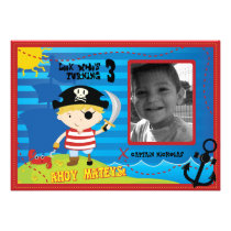 Pirate Boy Birthday Party Invitation, Ahoy Mateys!