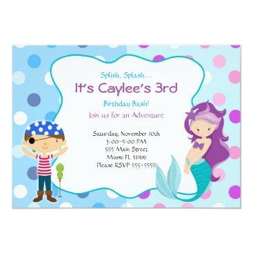 Pirate Mermaid Invitation Kids Birthday Party