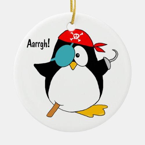 Pirate Penguin Ceramic Ornament