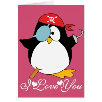 Pirate Penguin Graphic I Love You Greeting Cards