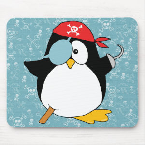 Pirate Penguin Graphic Mouse Pad