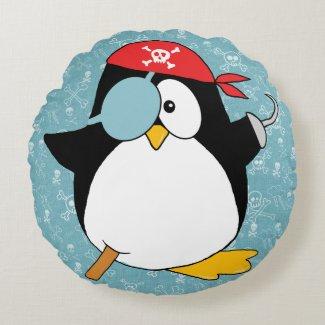 Pirate Penguin Graphic Round Pillow