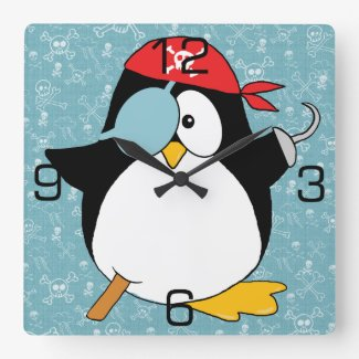 Pirate Penguin Graphic Square Wall Clock