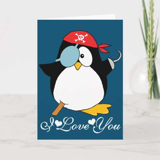 Pirate Penguin I Love You Card