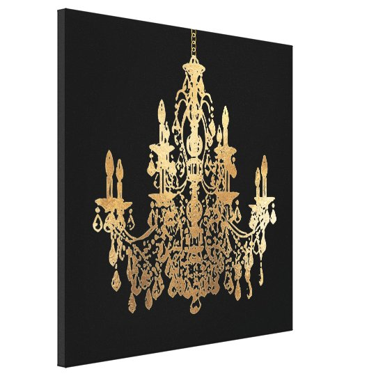 Pixdezines Diy Background Faux Gold Chandelier Canvas Print