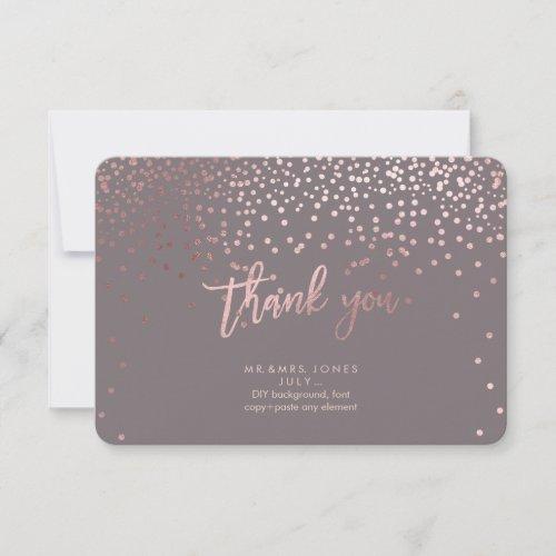 PixDezines Faux Rose Gold Confetti Thank You