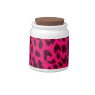 Plain Hot Pink Leopard Print Candy Jar on Zazzle