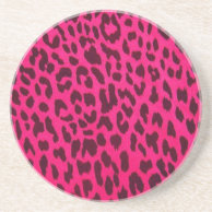 Plain Pink Leopard Print Coaster on Zazzle
