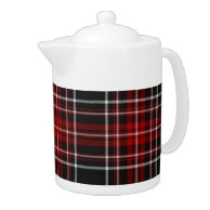 Plain Red Plaid Tartan Teapot on Zazzle