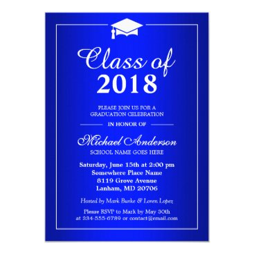 Plain Royal Blue Class Of 2018 Graduation Party Invitation