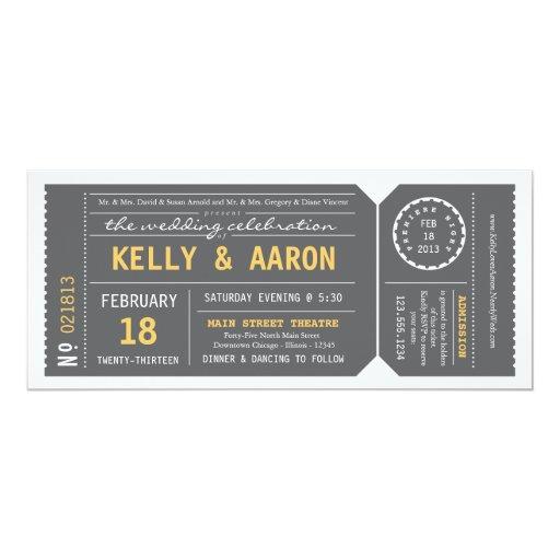 Playbill Theater Ticket Wedding Invitation Gray Zazzle