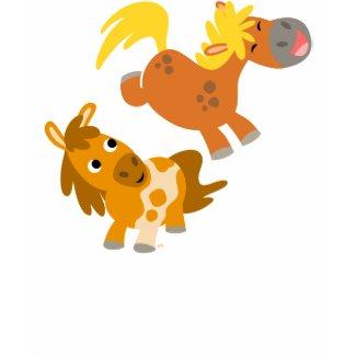Playful Cartoon Ponies Women T-shirt shirt