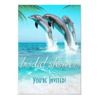 PLAYFUL DOLPHINS TROPICAL OCEAN Bridal Shower Card