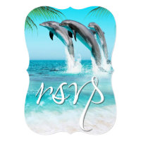 PLAYFUL DOLPHINS TROPICAL OCEAN RSVP Wedding Card