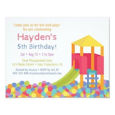 Playground Gym Ball Pits Kid Birthday Party Invitation