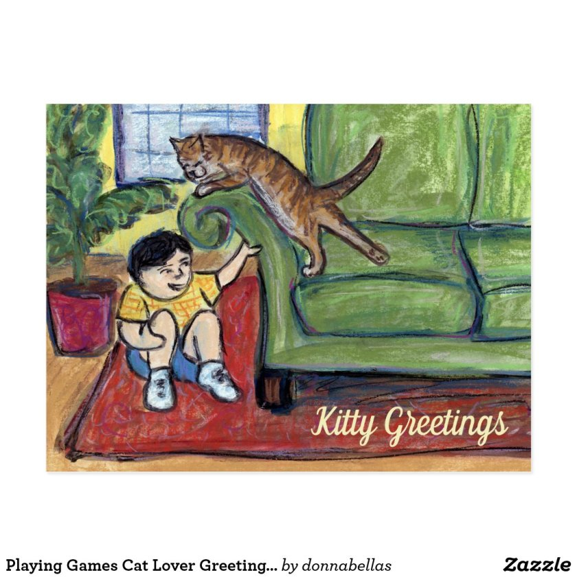 Playing Games Cat Lover Greeting Custom Postcards