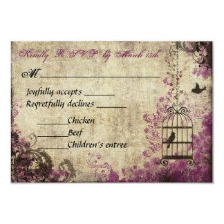 Plum Birdcage Vine Wedding Rsvp Card