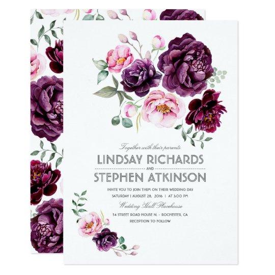 Hand Lettered Watercolour Wedding Invitation