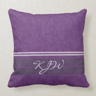 Plum Lavender Stripes Monogram Throw Pillow