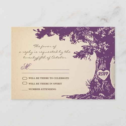 plum old tree vintage wedding rsvp design