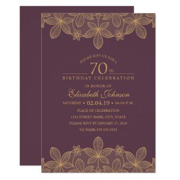 Plum Purple 70th Birthday Party Unique Golden Lace Invitation