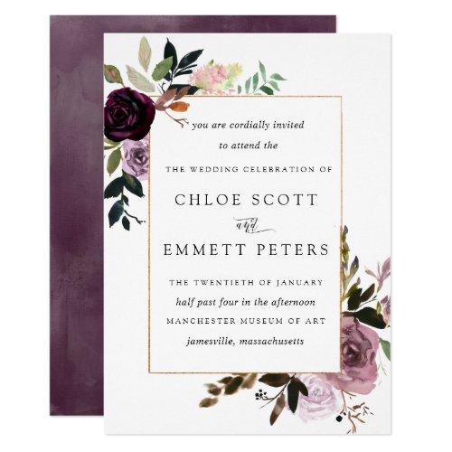Plum Purple Mauve Pink Floral Wedding Invitation