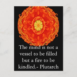 Plutarch quote on learning and teaching postcard