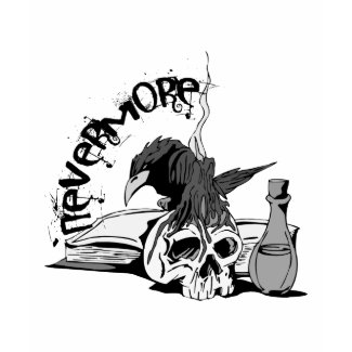 Poe Nevermore Raven Skull & Book shirt