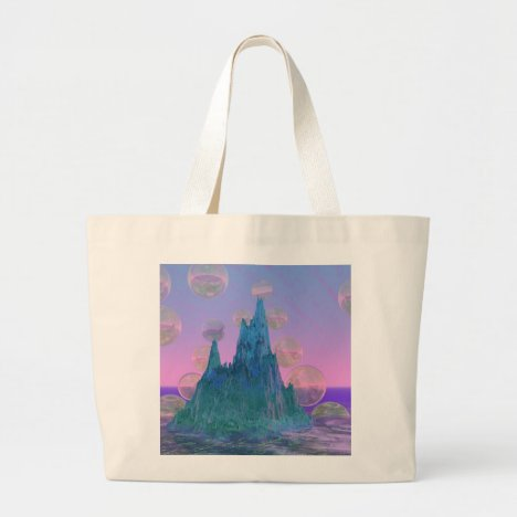 Poetic Mountain, Abstract Magic Teal Pink Large Tote Bag