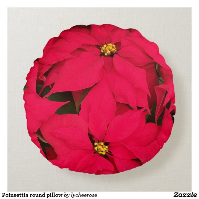 Poinsettia Round Pillow