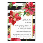 Poinsettias on Stripes Christmas Party Invitation