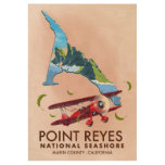 point reyes national seashore travel poster. wood poster