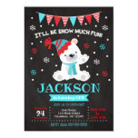 Polar Bear Birthday Invitation / Winter Birthday