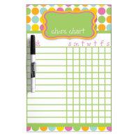 Polka Dot Chore Chart Dry-Erase Whiteboards