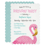 Polka Dot Pink Flamingo Birthday Party Invitation