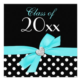 Polka Dot Teal Blue Bow Heart Graduation Party Personalized Invitation