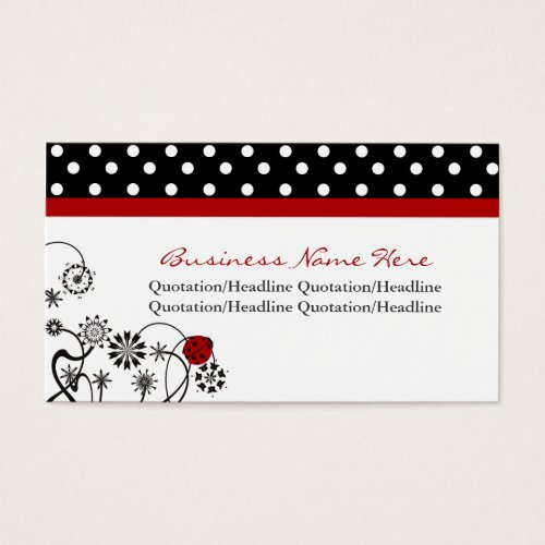 Polka Dot Trimmed Lady Bug Business Cards